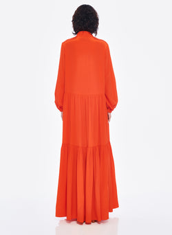 Silk CDC Tie Neck Dress Blood Orange-9