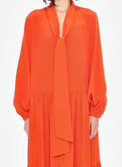 Silk CDC Tie Neck Dress Blood Orange-10