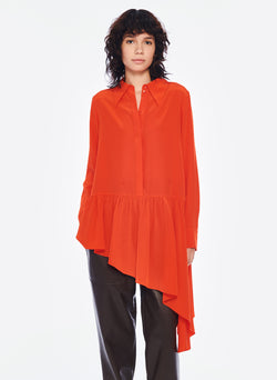 Silk CDC Asymmetrical Blouse Blood Orange-1