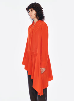Silk CDC Asymmetrical Blouse Blood Orange-2