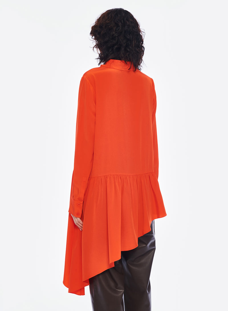 Silk CDC Asymmetrical Blouse Blood Orange-3