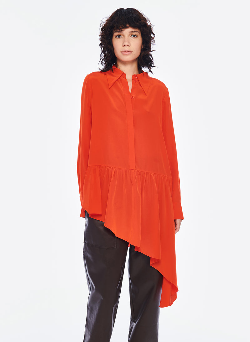 Silk CDC Asymmetrical Blouse Blood Orange-4