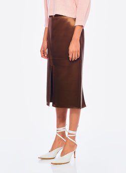 Satin Pencil Skirt Burnt Oak-2