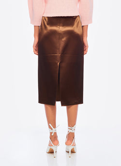Satin Pencil Skirt Burnt Oak-3