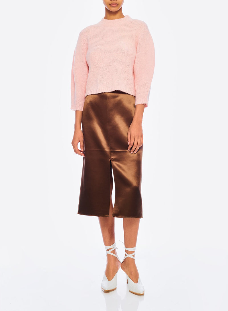 Satin Pencil Skirt Burnt Oak-4