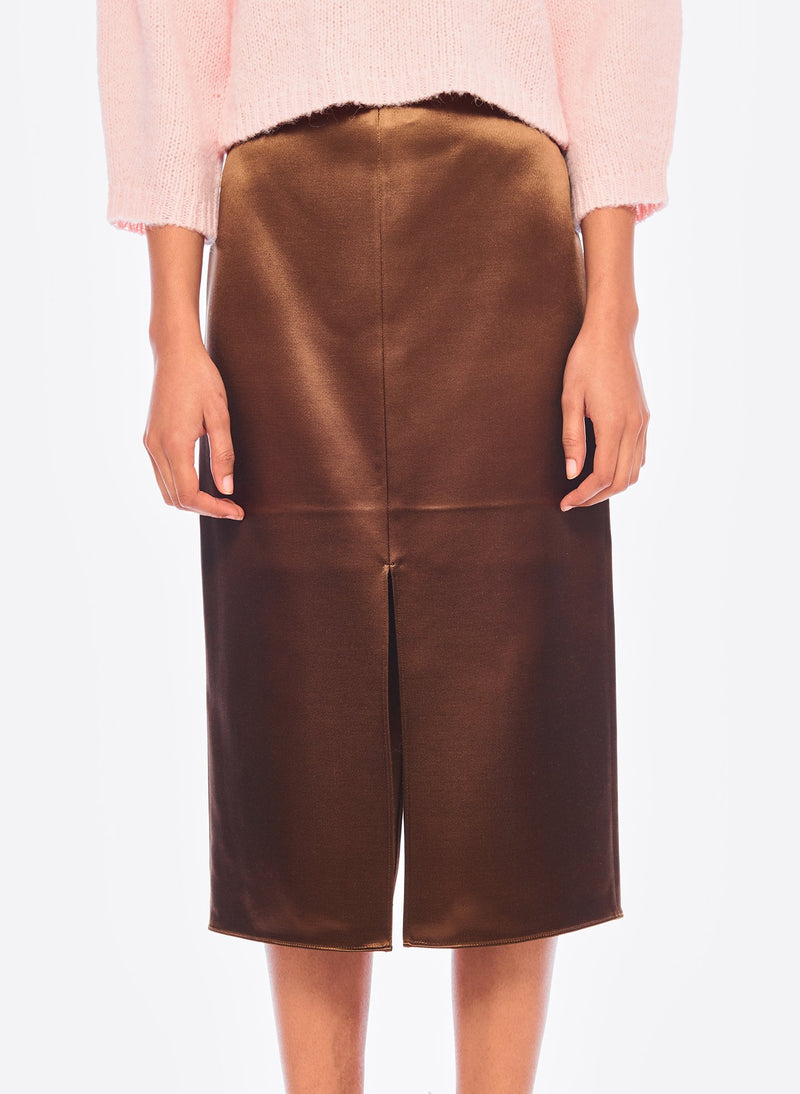 Satin Pencil Skirt Burnt Oak-5