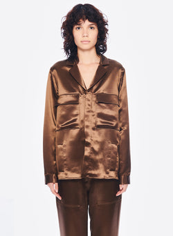 Satin Shirt Jacket Burnt Oak-1