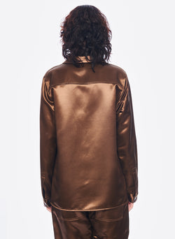 Satin Shirt Jacket Burnt Oak-3