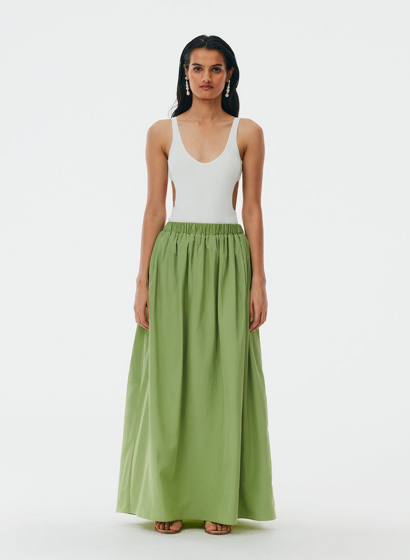 Italian Sporty Nylon Pull On Cocoon Skirt Matcha-1