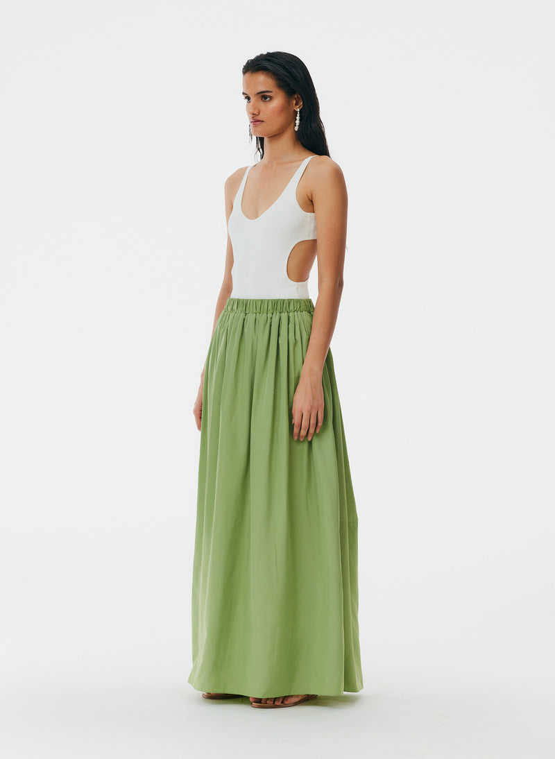 Italian Sporty Nylon Pull On Cocoon Skirt Matcha-2