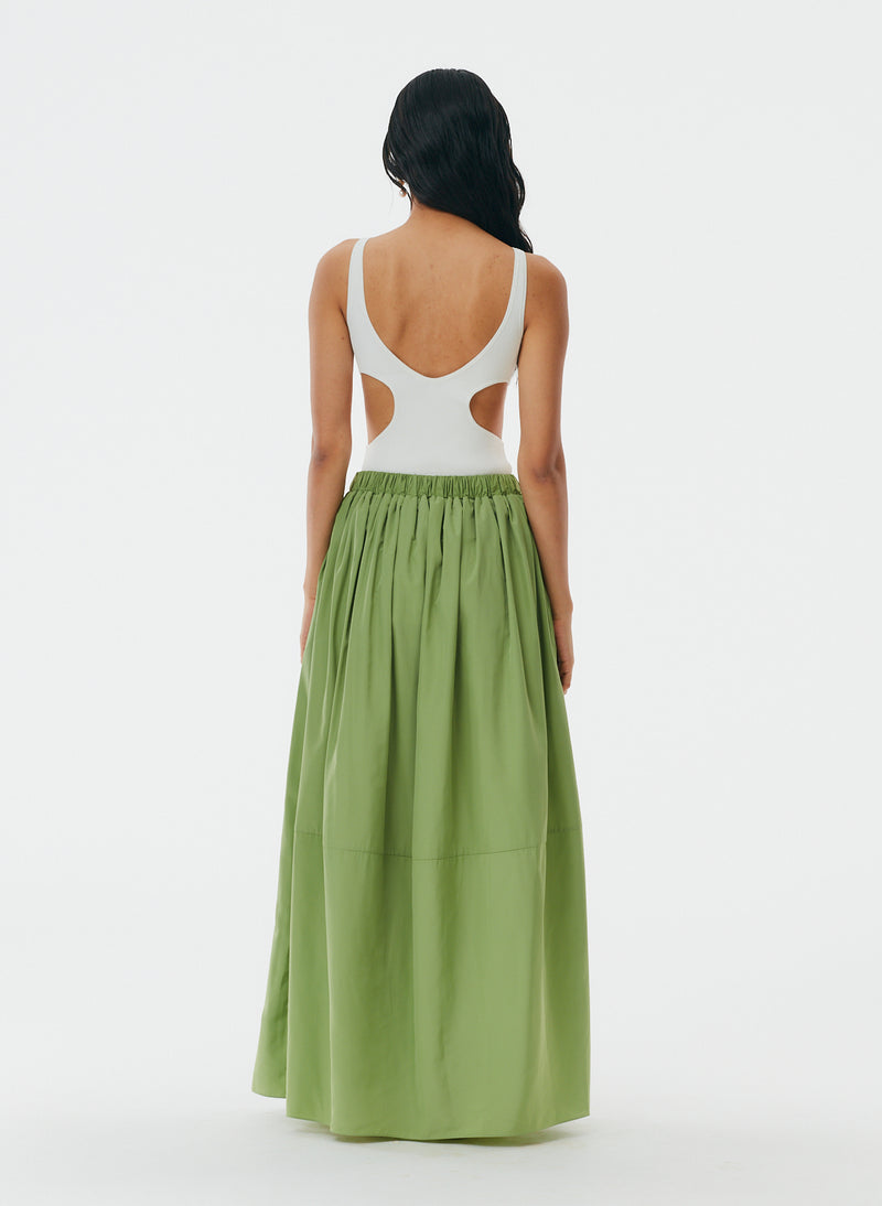 Italian Sporty Nylon Pull On Cocoon Skirt Matcha-3