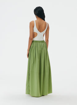 Italian Sporty Nylon Pull On Cocoon Skirt Matcha-4