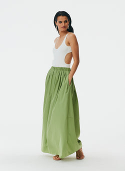 Italian Sporty Nylon Pull On Cocoon Skirt Matcha-5