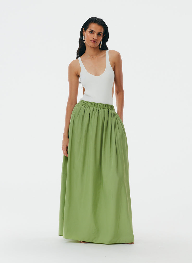 Italian Sporty Nylon Pull On Cocoon Skirt Matcha-6