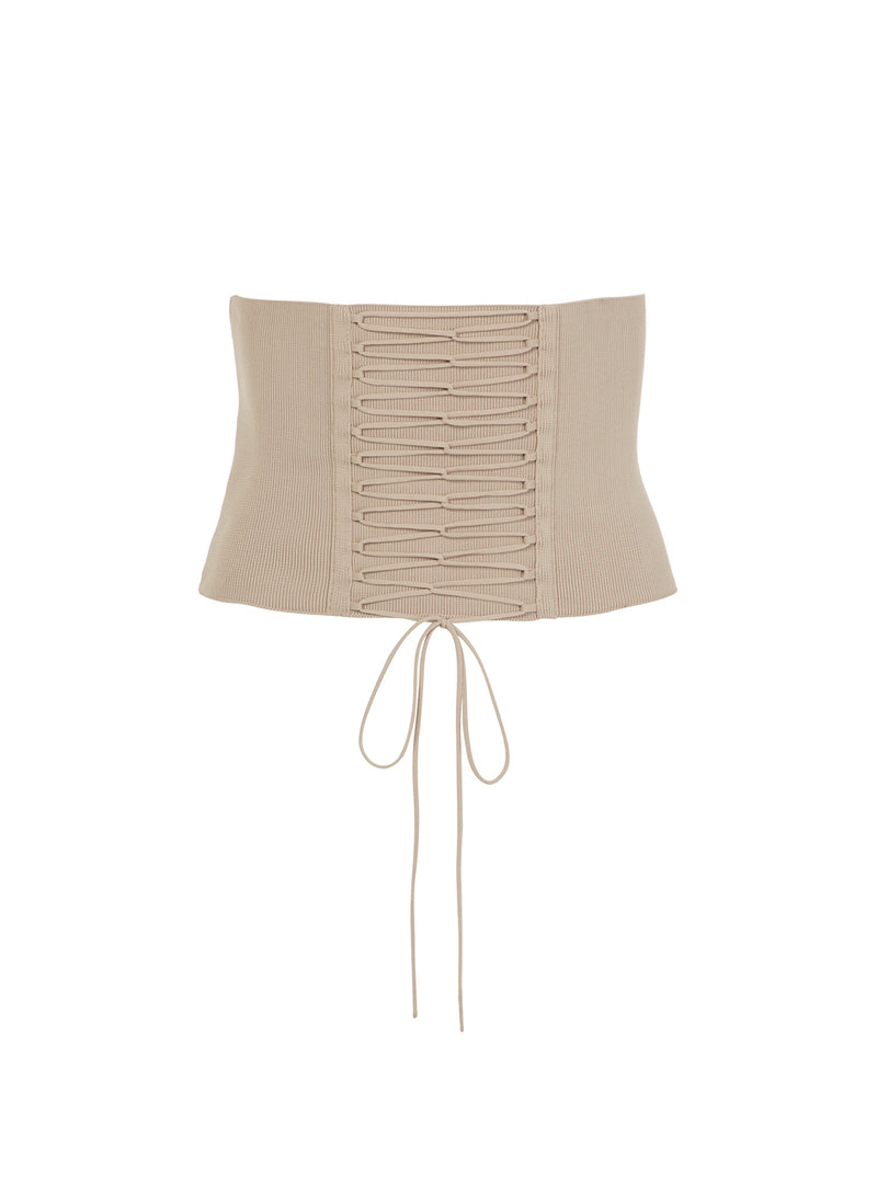 Knit Laceup Tie Corset Nude-12