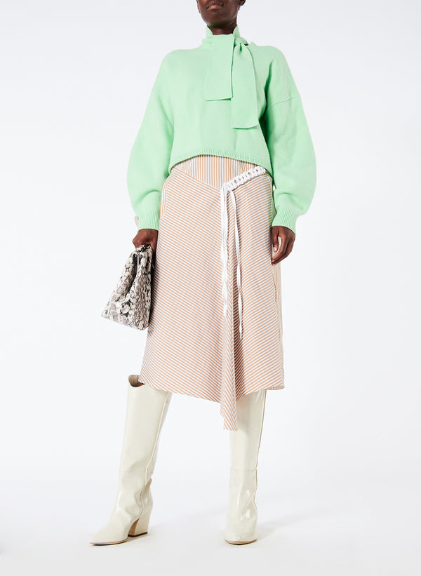 티비 스웨터 Tibi Airy Wool Tie Collar Pullover,Mint Green
