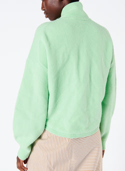 Airy Wool Tie Collar Pullover Mint Green-3