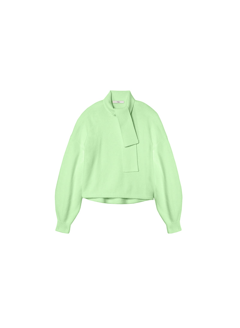Airy Wool Tie Collar Pullover Mint Green-7
