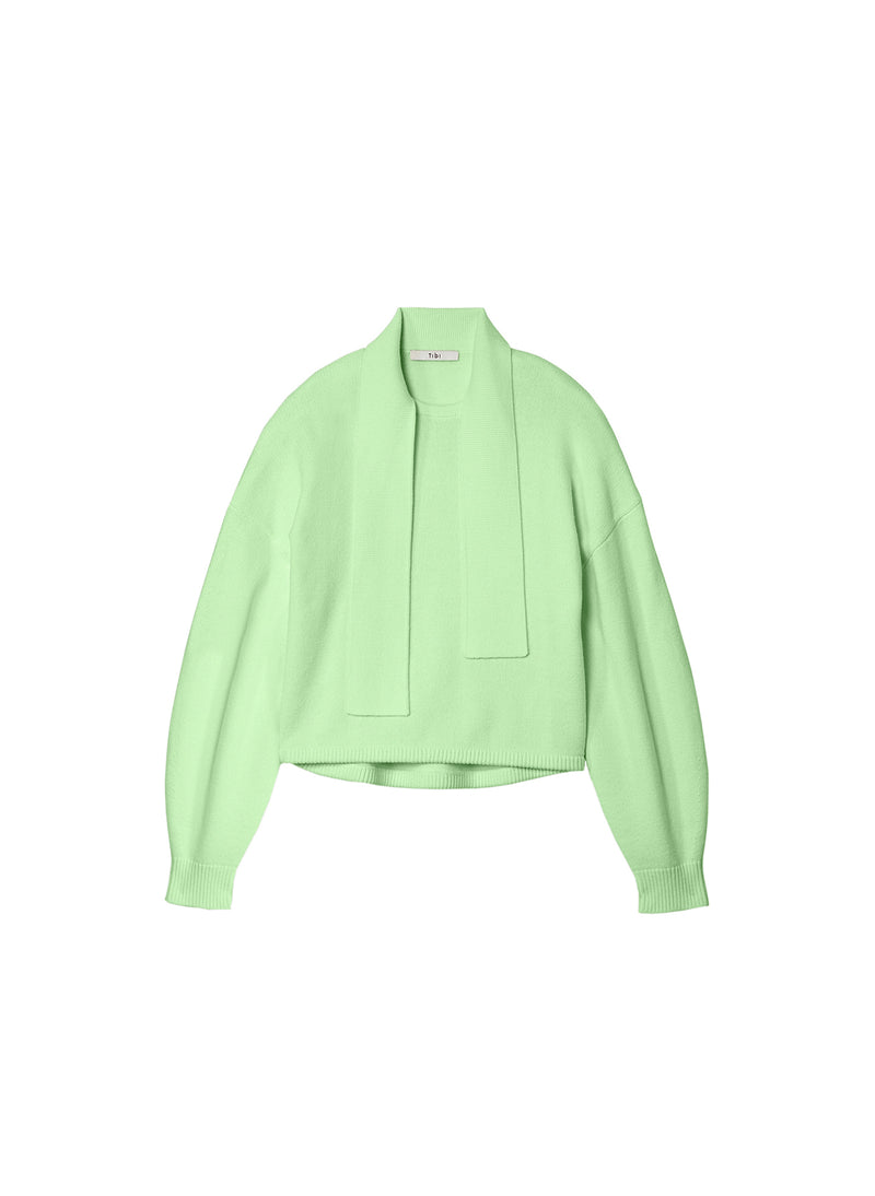 Airy Wool Tie Collar Pullover Mint Green-6