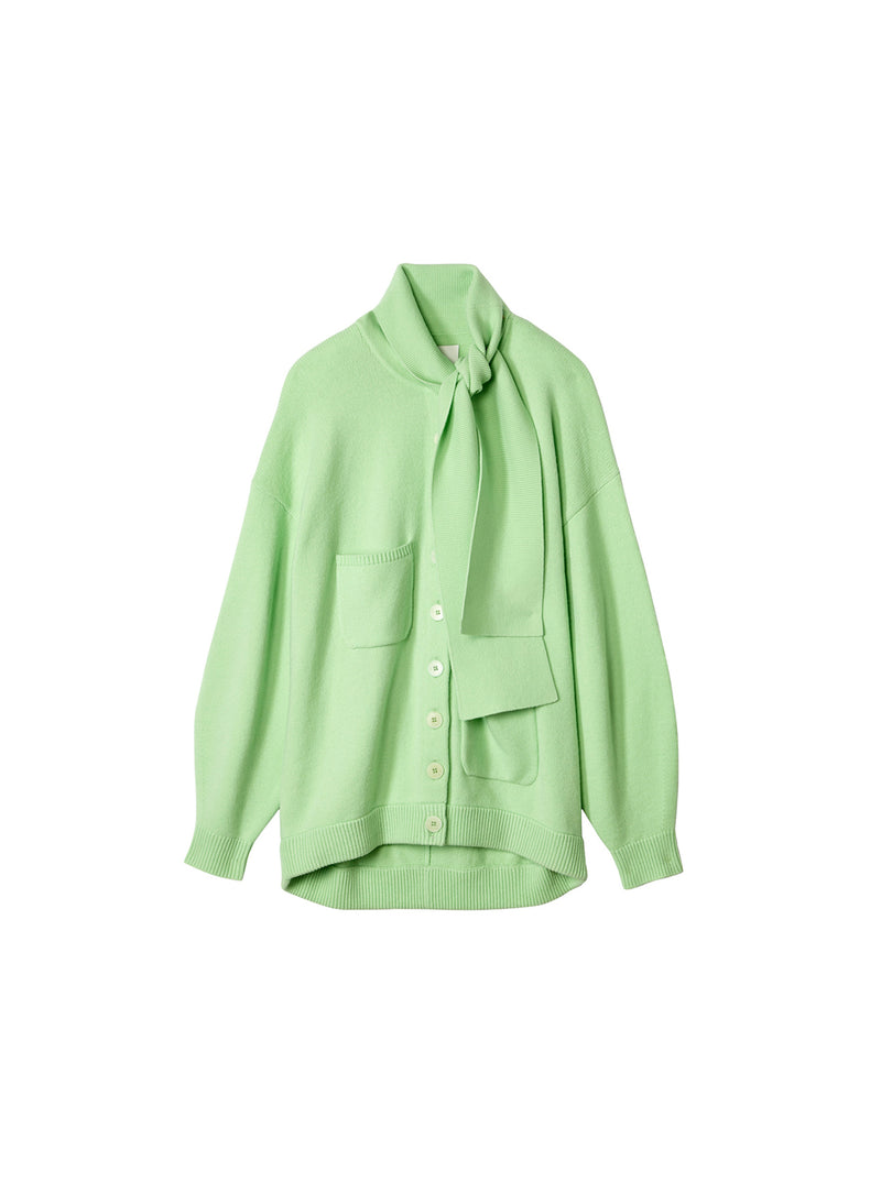 Airy Wool Tie Collar Oversized Cardigan Mint Green-6