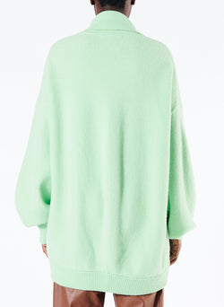 Airy Wool Tie Collar Oversized Cardigan Mint Green-4