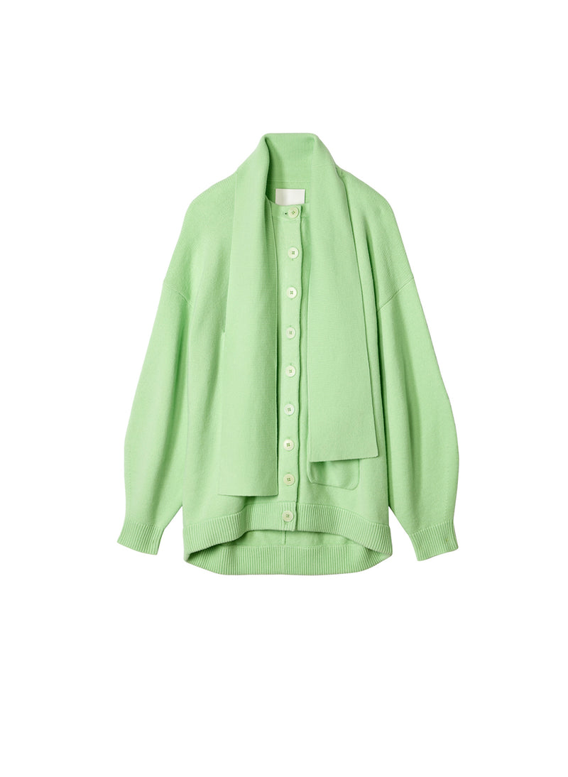 Airy Wool Tie Collar Oversized Cardigan Mint Green-7