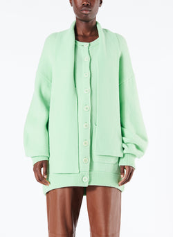 Airy Wool Tie Collar Oversized Cardigan Mint Green-1