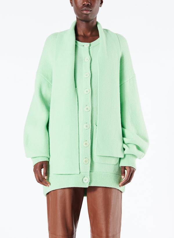 티비 오버사이즈 가디건 Tibi Airy Wool Tie Collar Oversized Cardigan,Mint Green