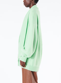 Airy Wool Tie Collar Oversized Cardigan Mint Green-2