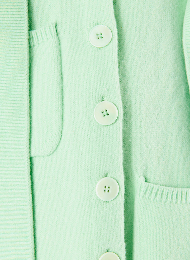 Airy Wool Tie Collar Oversized Cardigan Mint Green-5