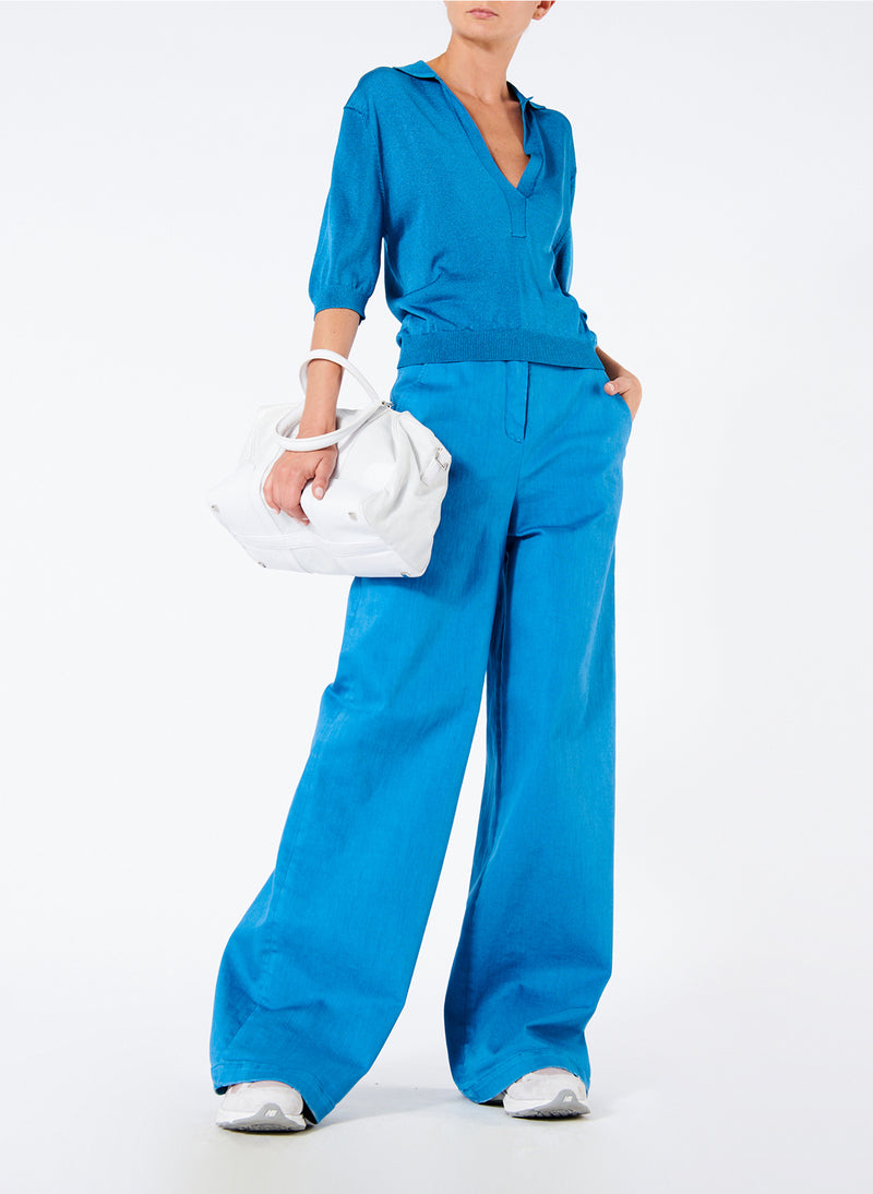 Garment Dyed Twill Wide Leg Jean Sky Blue-5