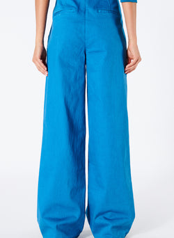 Garment Dyed Twill Wide Leg Jean Sky Blue-2