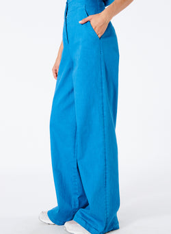 Garment Dyed Twill Wide Leg Jean Sky Blue-3