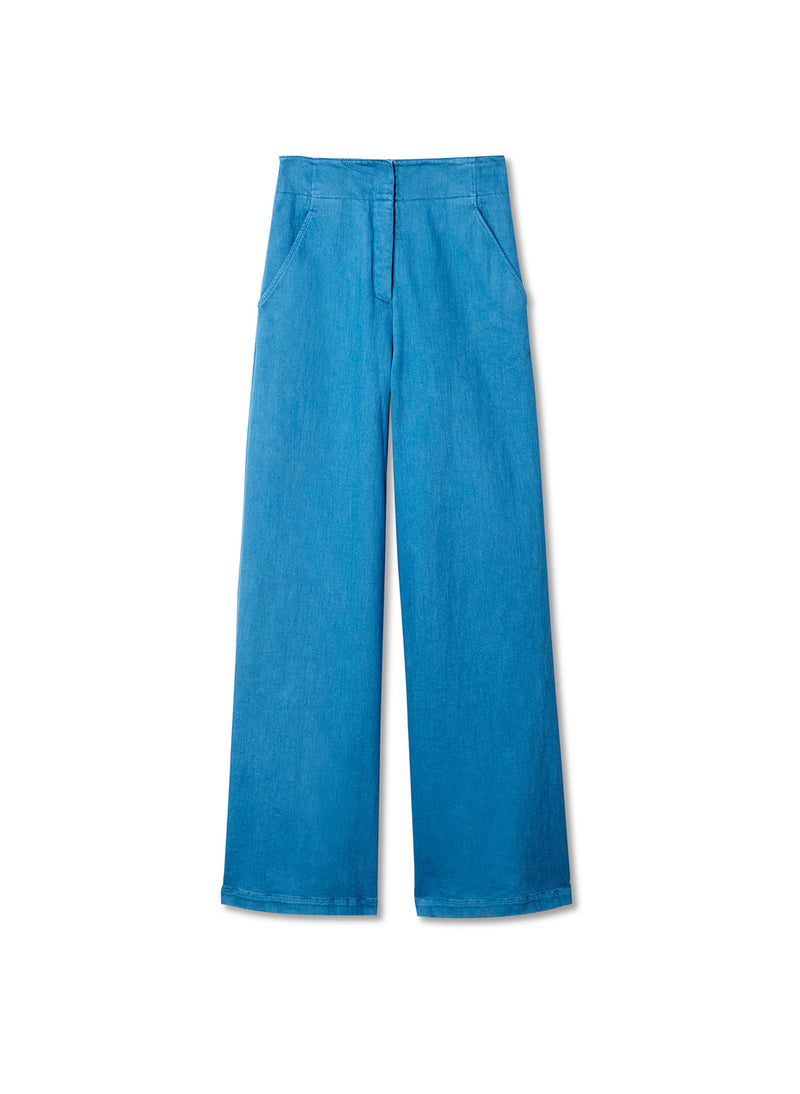 Garment Dyed Twill Wide Leg Jean Sky Blue-6