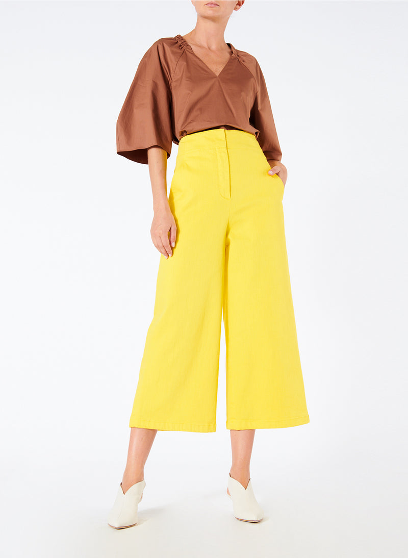 Garment Dyed Twill Cropped Wide Leg Jean Lemon Yellow-4