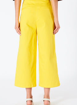 Garment Dyed Twill Cropped Wide Leg Jean Lemon Yellow-2