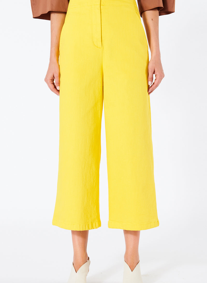 Garment Dyed Twill Cropped Wide Leg Jean Lemon Yellow-1