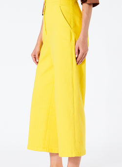 Garment Dyed Twill Cropped Wide Leg Jean Lemon Yellow-3