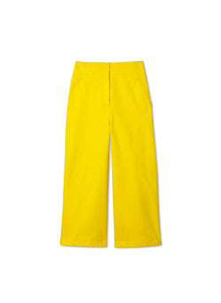 Garment Dyed Twill Cropped Wide Leg Jean Lemon Yellow-5