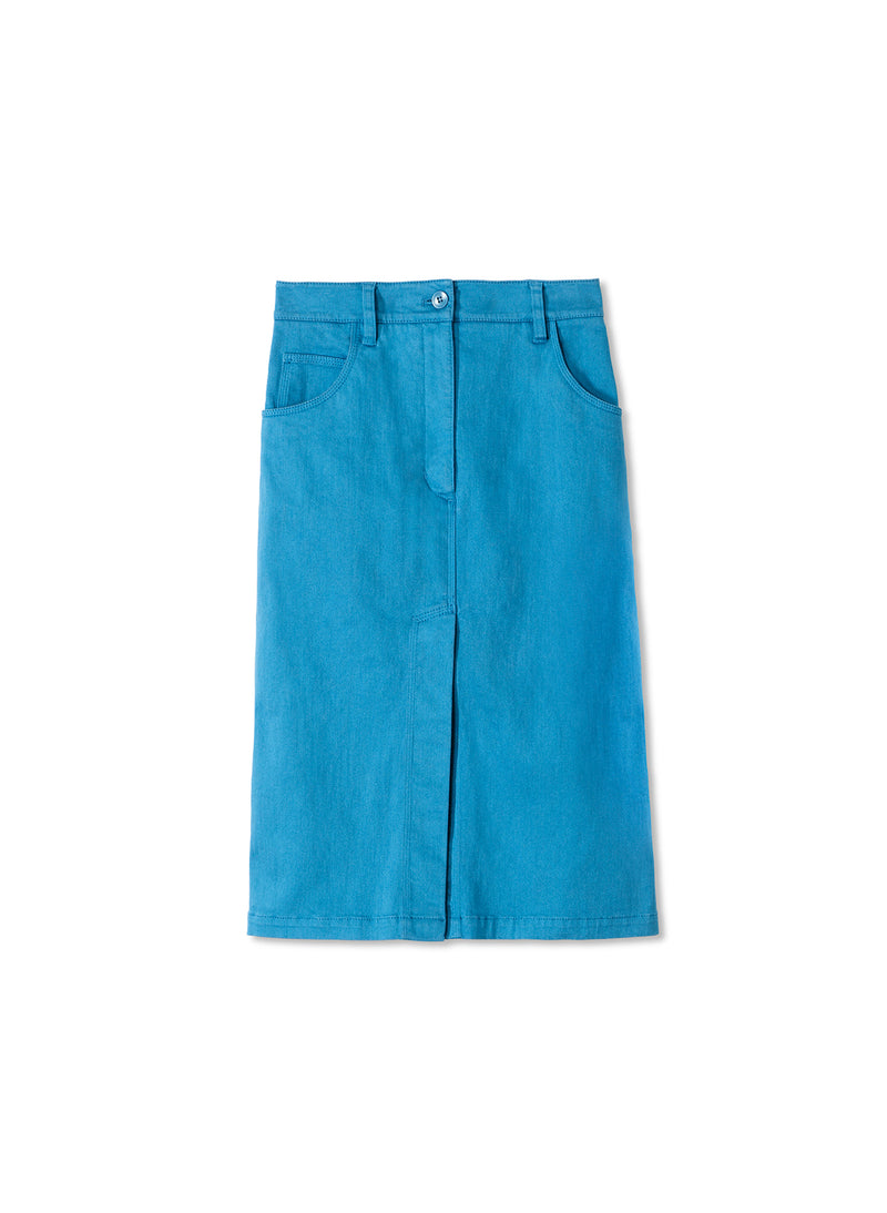 Garment Dyed Twill Pencil Skirt Sky Blue-5