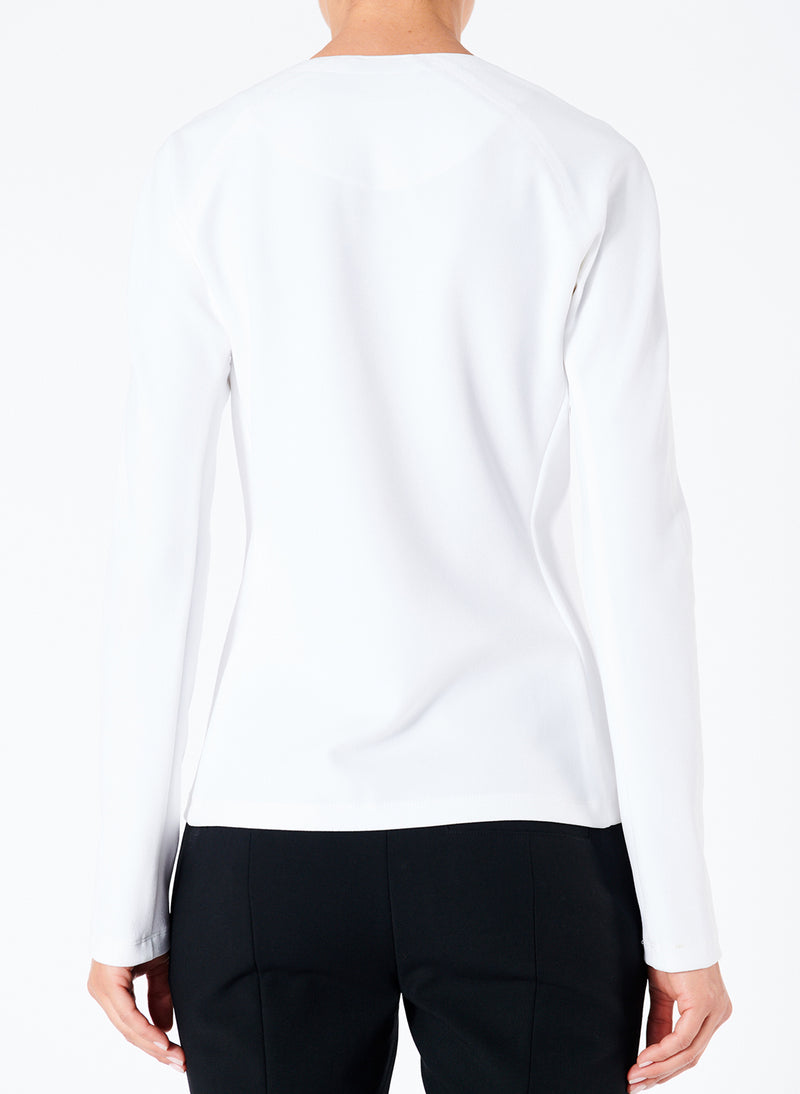 Structured Crepe Zip-Up Top White-2