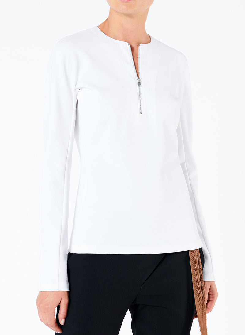 Structured Crepe Zip-Up Top White-1