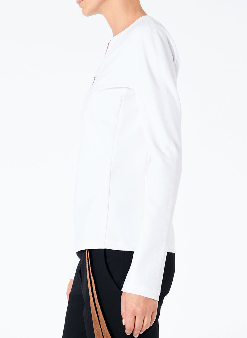 Structured Crepe Zip-Up Top White-3
