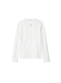 Structured Crepe Zip-Up Top White-6