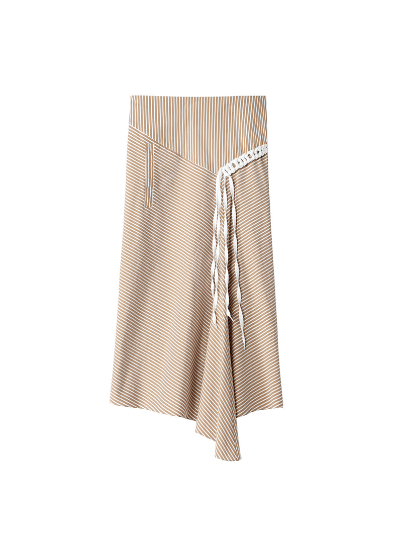 Kaia Stripe Lanyard Skirt Khaki/White Multi-4