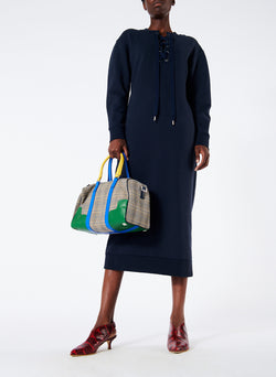Sweatshirt Tie Neck Midi Dress Navy-5