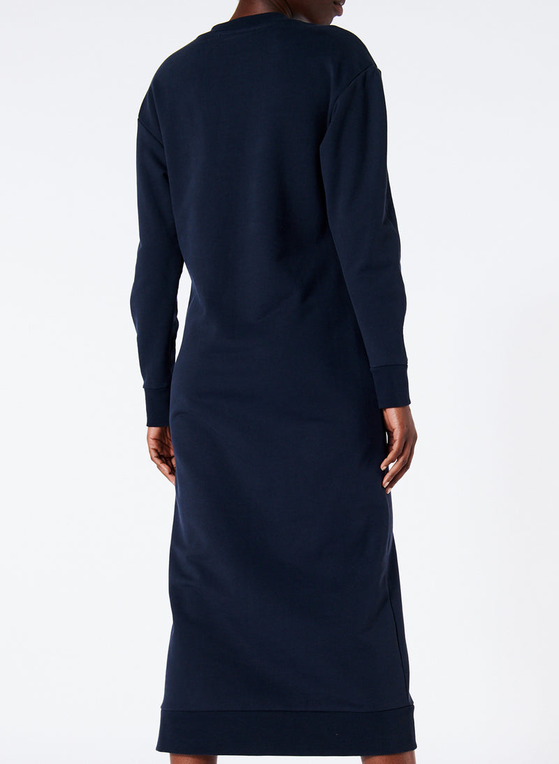 Sweatshirt Tie Neck Midi Dress Navy-3
