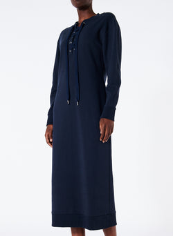 Sweatshirt Tie Neck Midi Dress Navy-1