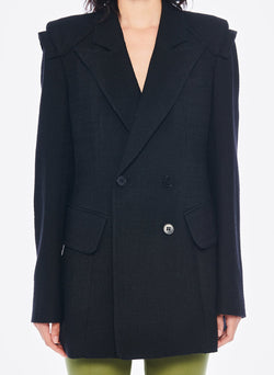 Basketweave Sculpted Blazer Black-4