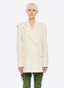 Basketweave Sculpted Blazer Ivory-6